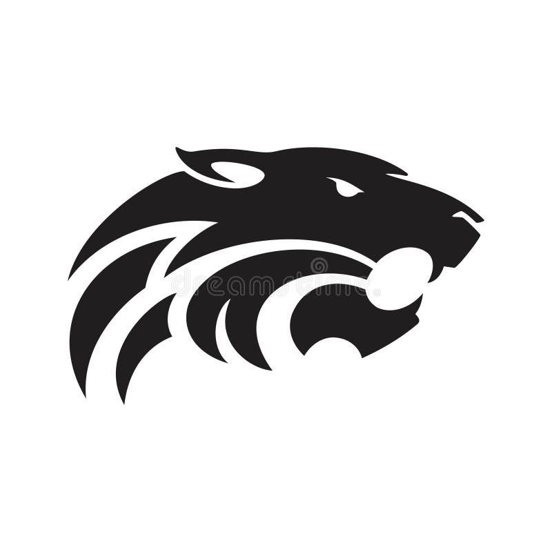 Tijgerhoofd - de illustratie van het embleemconcept in klassieke grafische stijl Teken van het tijger het hoofdsilhouet De tijger stock illustratie