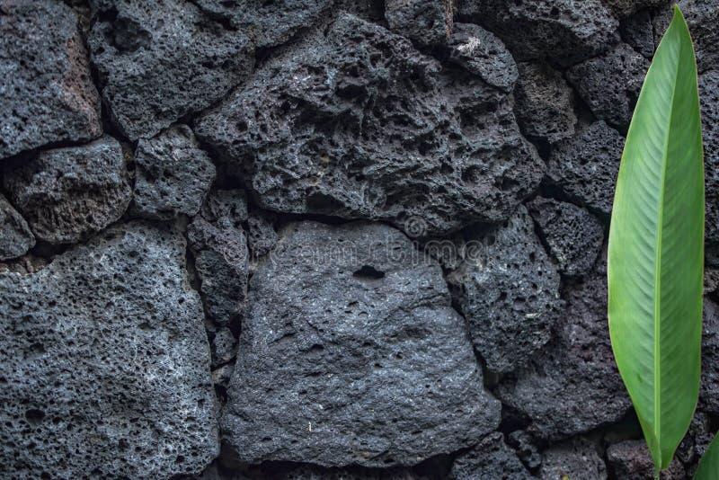 Tijolos de pedra do fundo da textura do vulcão na parede foto de stock royalty free