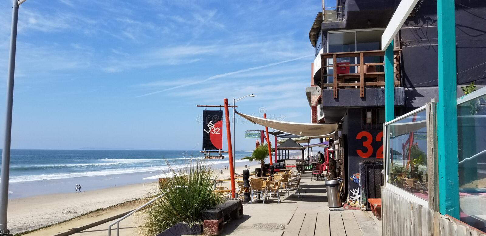 Tijuana, BC, Mexico - April 25, 2018 - Famous Latitud 32 coffee shop at the beach area of Malecon de Playas de Tijuana, on a clear stock photos