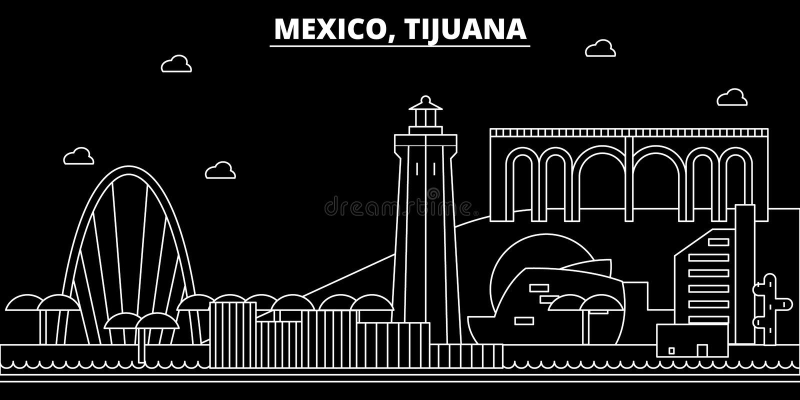Tijuana konturhorisont Mexico - Tijuana vektorstad, mexikansk linjär arkitektur, byggnader Tijuana lopp vektor illustrationer