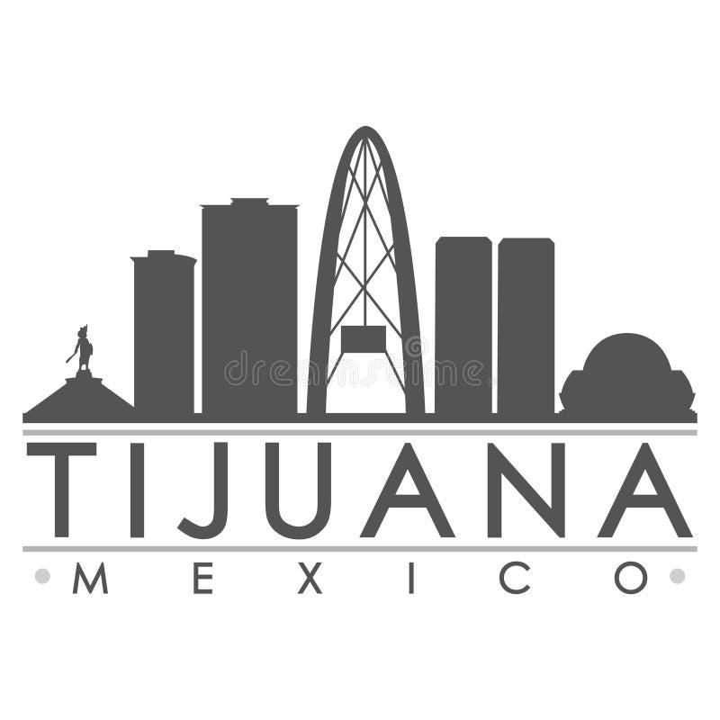 Tijuana Mexico America Silhouette Icon Vector Art Flat Shadow Design Skyline City Silhouette Template Logo vector illustration