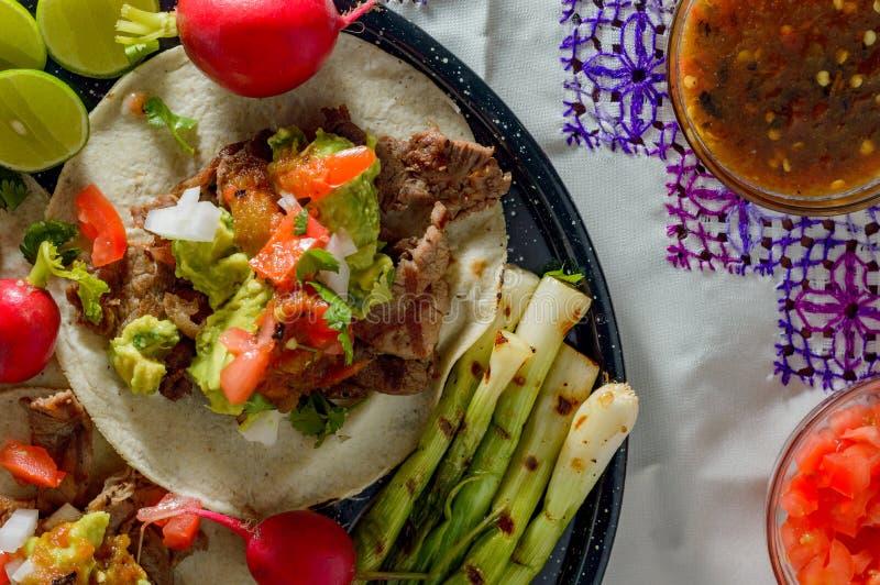 Tijuana taco, carneasada med kopieringsutrymme royaltyfri fotografi