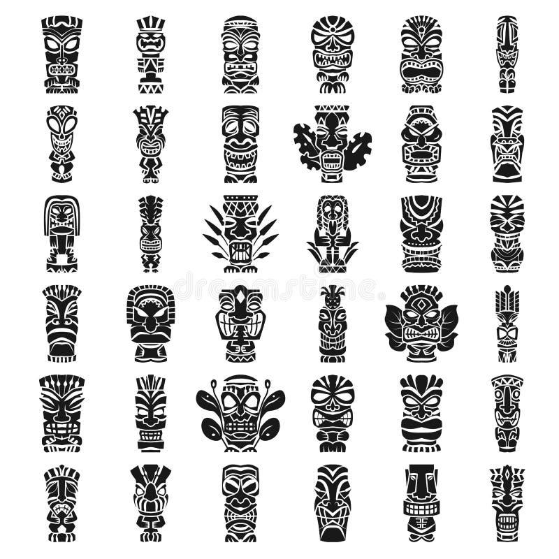 Tików idolów ikony set, prosty styl ilustracja wektor