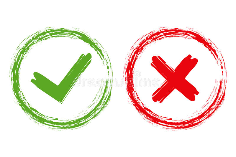 Tik en dwarsborsteltekens Groene controleteken O.K. en rode die X pictogrammen, op witte achtergrond worden geïsoleerd Eenvoudig  royalty-vrije illustratie