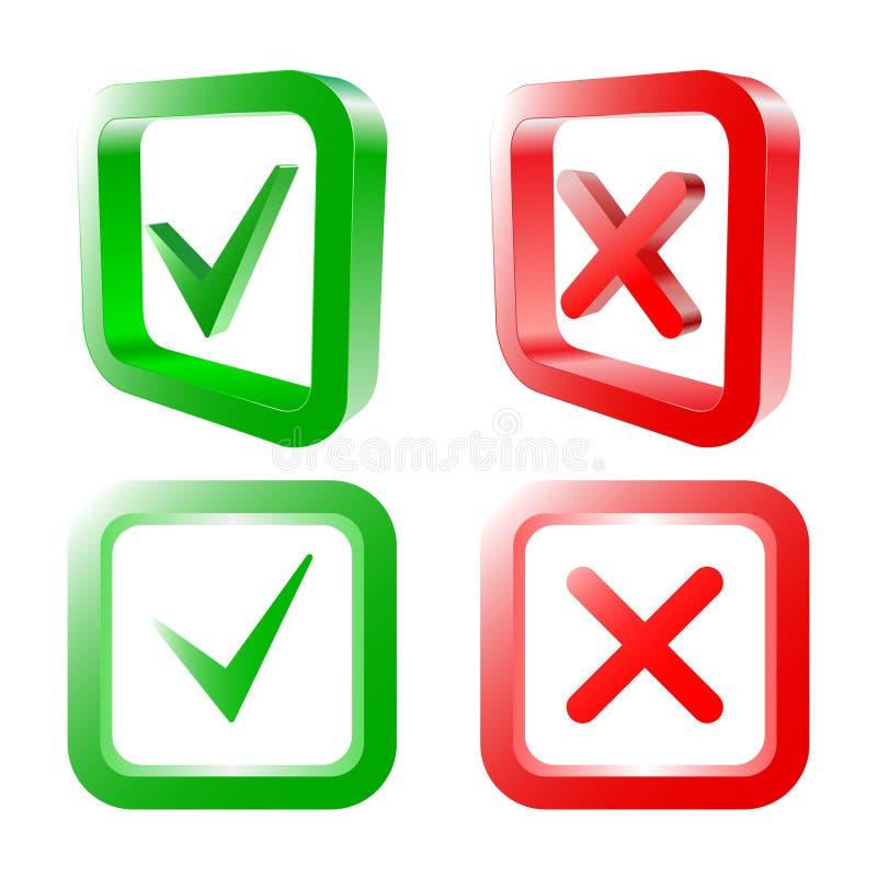 Tik en dwarstekens Groene controleteken O.K. en rode die X pictogrammen, op witte achtergrond worden geïsoleerd Vector illustrati stock illustratie
