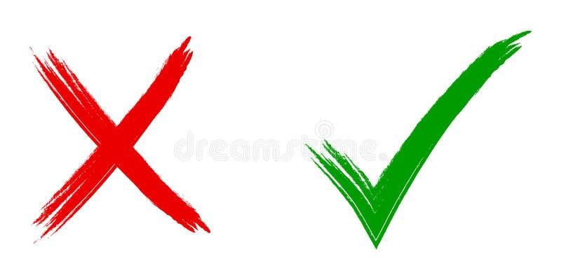 Tik en dwarstekens Groene controleteken O.K. en rode X pictogrammen, Eenvoudig tekens grafisch ontwerp Symbolen JA en GEEN knoop  stock illustratie