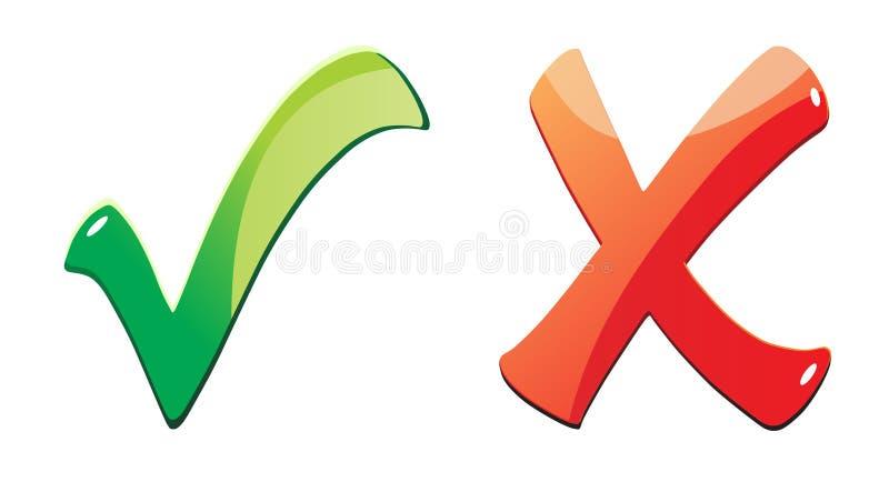 Tik en kruis vector illustratie