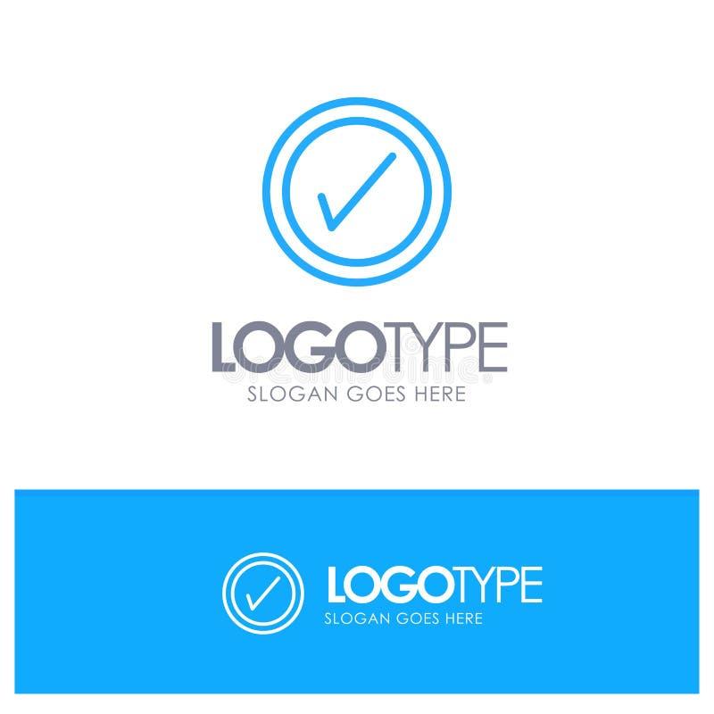 Tik, Interface, Gebruikers Blauw Overzicht Logo Place voor Tagline vector illustratie