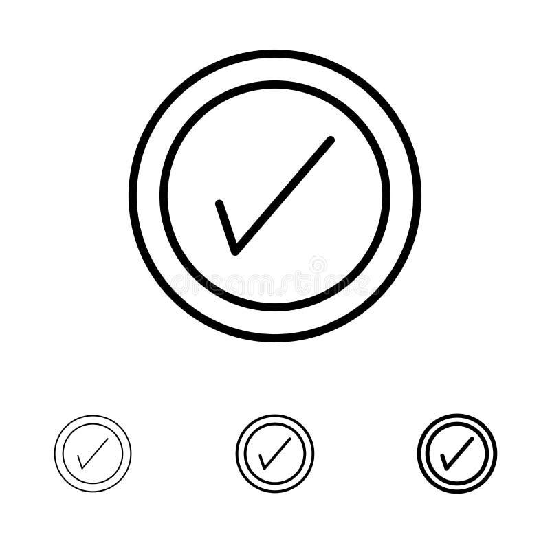 Tik, Interface, het pictogramreeks van de Gebruikers Gewaagde en dunne zwarte lijn vector illustratie