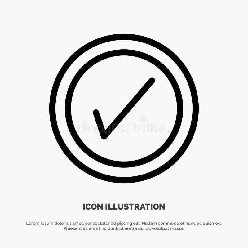 Tik, Interface, het Pictogramvector van de Gebruikerslijn stock illustratie