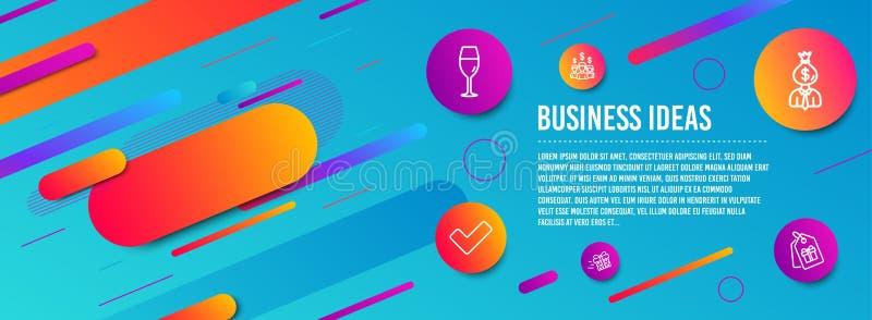 Tik, Wijnglas en Manager geplaatste pictogrammen Huidige levering, Salariswerknemers en Couponstekens Vector royalty-vrije illustratie