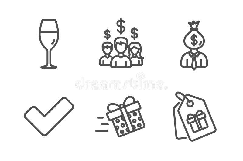 Tik, Wijnglas en Manager geplaatste pictogrammen Huidige levering, Salariswerknemers en Couponstekens Vector stock illustratie
