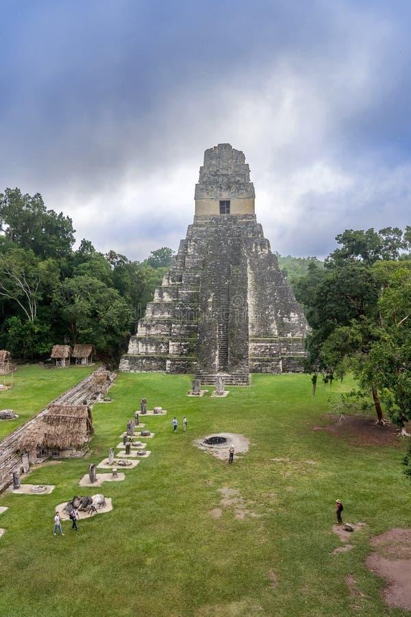 Tikaltempel I, Tempel van Groot Jaguar in het belangrijkste Plein van stock foto