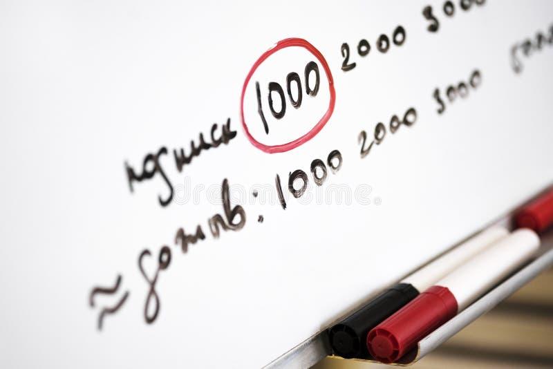Tikgrafiek in het bureau met tekst en tellers voor bureauraad royalty-vrije stock foto's