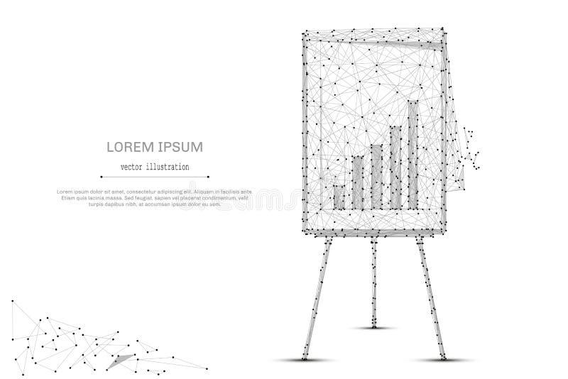 Tikgrafiek met diagram lage poly grijs stock illustratie