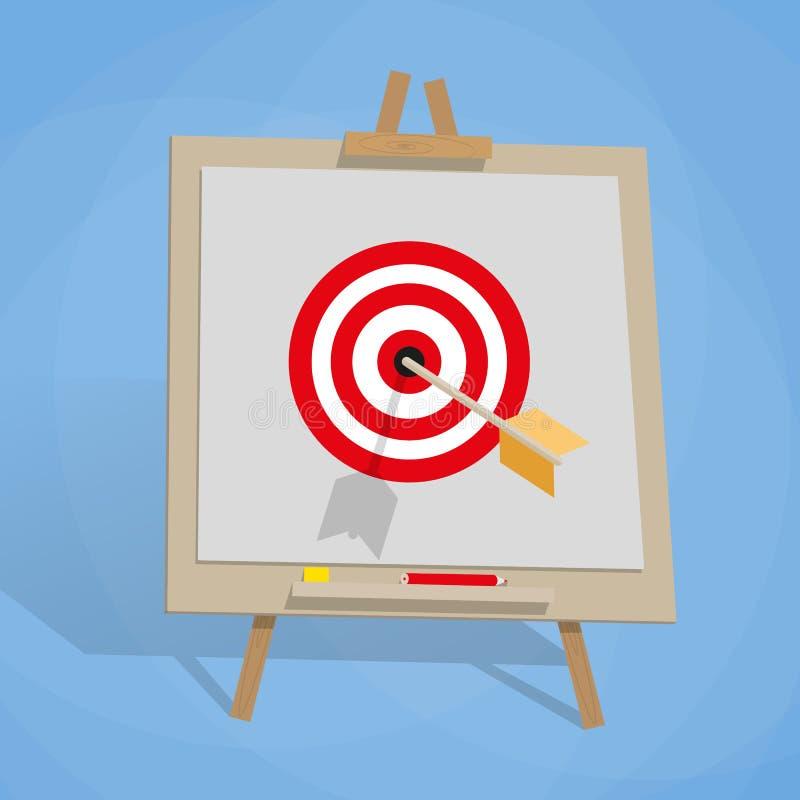 Tikgrafiek met doel, en pijl vector illustratie
