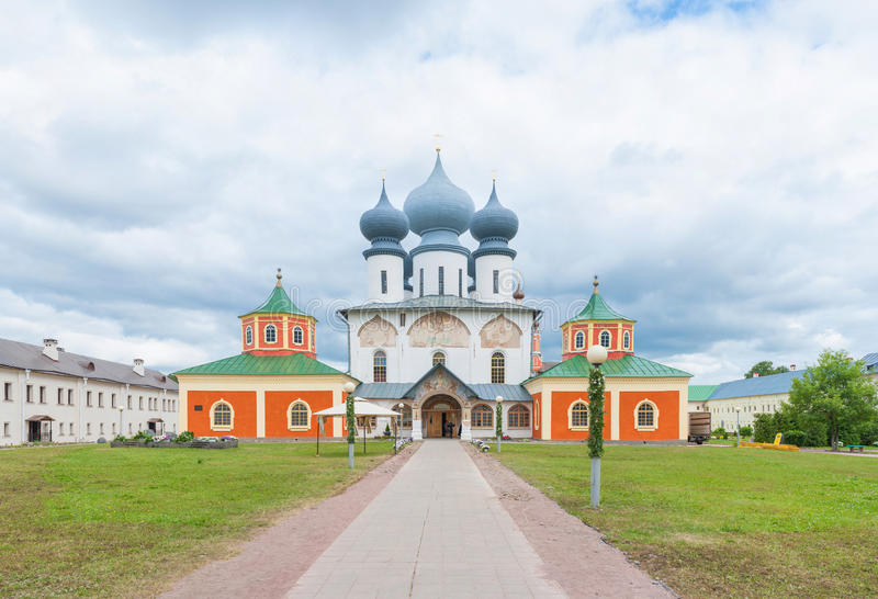 Tikhvin Assumption Monastery. Within grounds of the Tikhvin Assumption Monastery in Tikhvin, Russia stock image
