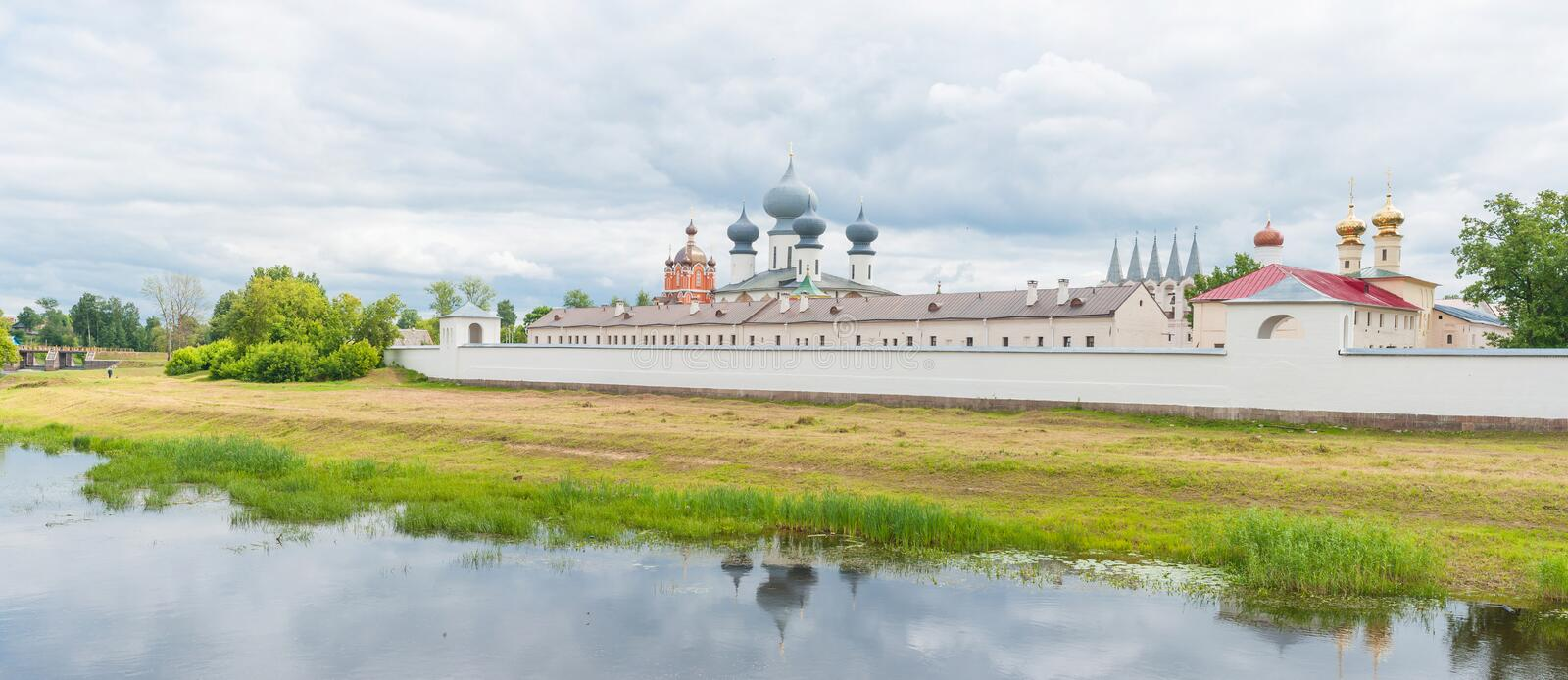 Tikhvin Assumption Monastery. View of the Tikhvin Assumption Monastery in Tikhvin, Russia, with the Tikhvinka river in the foreground stock photography