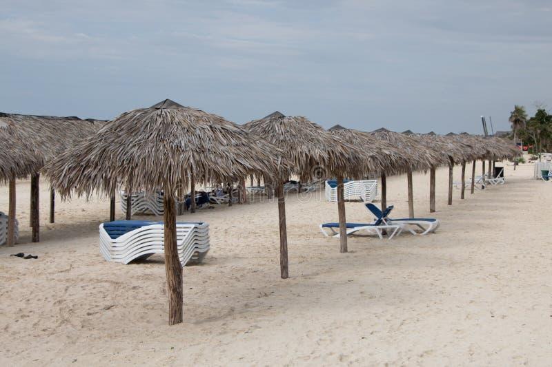 Tiki在海滩的庇荫树 免版税图库摄影