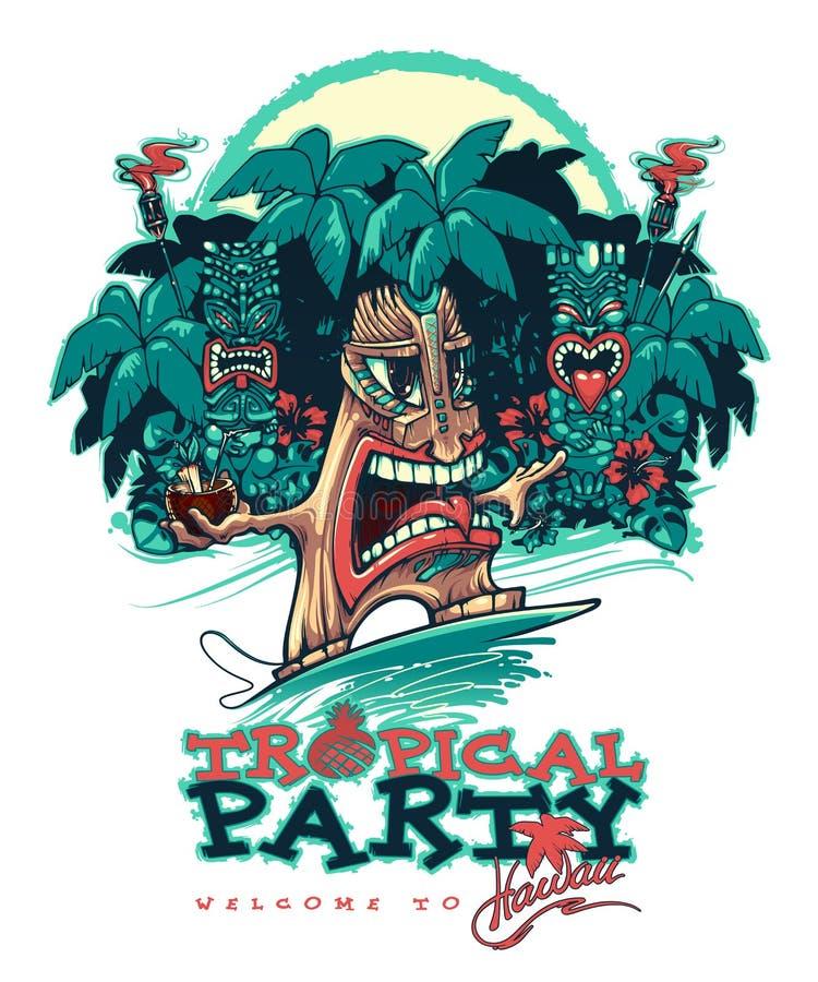 Tiki серфер Знамя для партии Tiki Тропическая партия иллюстрация штока