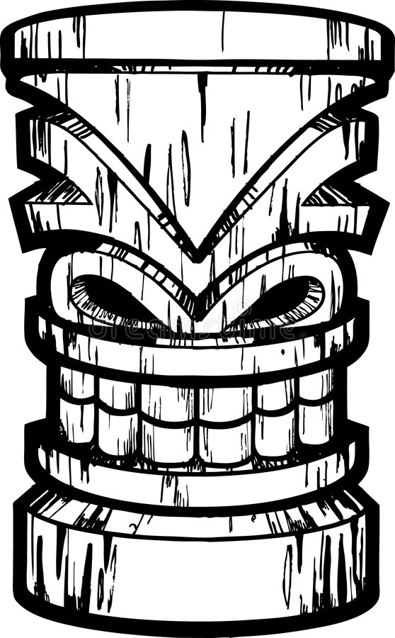 Tiki. A pen and ink tiki illustration