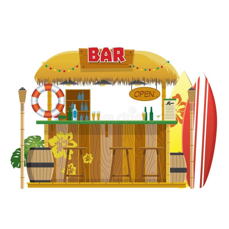 Tropical summer tiki bar at the beach. Vector of tropical summer tiki bar at the beach stock illustration