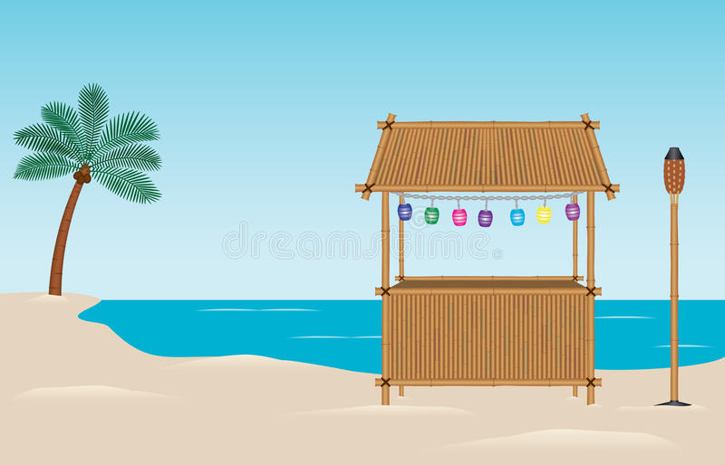 Tiki Bar on the Beach. A bamboo tiki bar on the beach. Paper lanterns hang above the bar. There is also a bamboo tiki torch and a palm tree in the background stock illustration