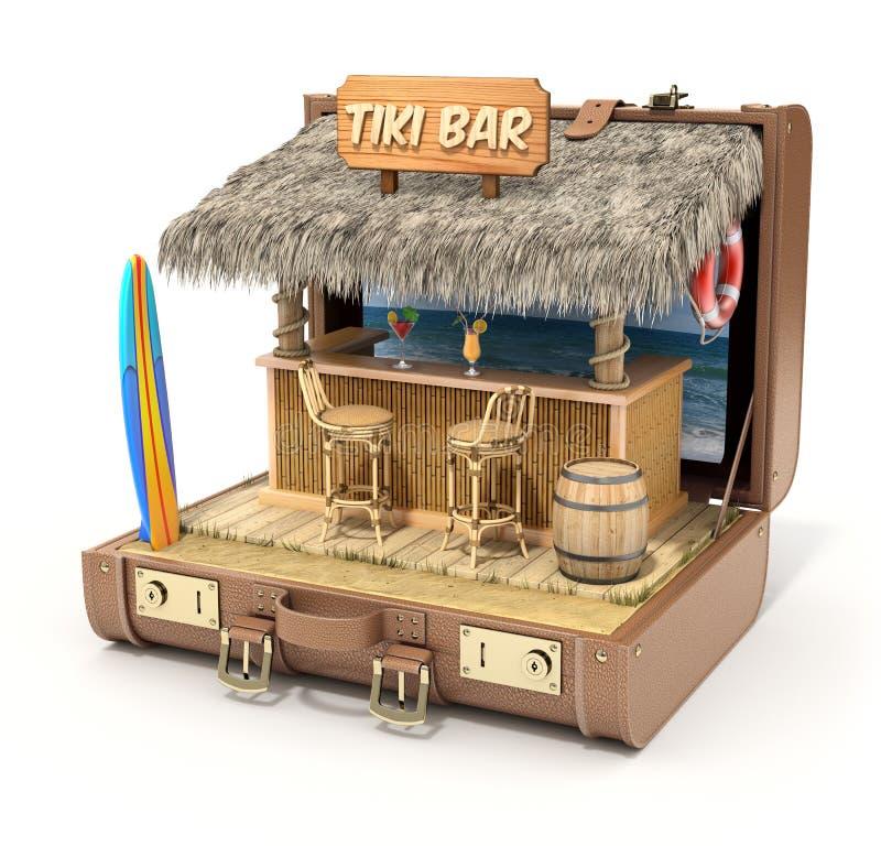 Tiki bar in the case. Tiki bar in the old case - 3D illustration vector illustration