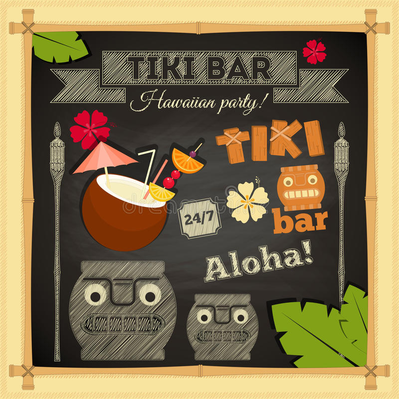 Tiki Bar Hawaii Chalkboard royalty-vrije illustratie