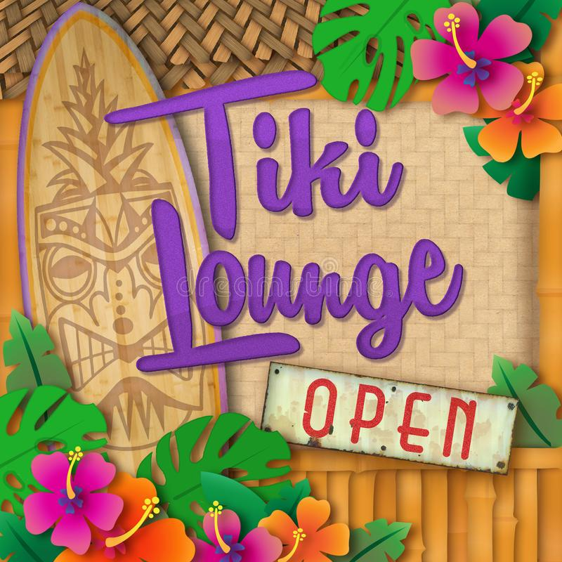 Tiki Bar Lounge Cocktails Open Sign Surfboard. Tiki Bar Sign Art Surfboard Shop Surf Lounge Hawaiian Cocktails Polynesian Island Luau Torch Pineapple Flowers vector illustration