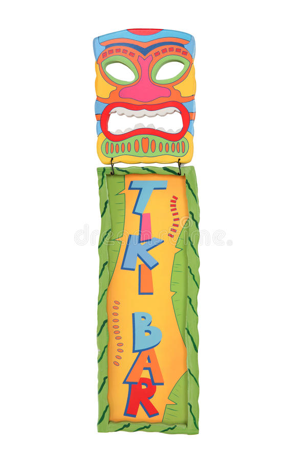 Tiki Bar Mask and Sign. A colorful tiki bar mask and sign isolated over white stock photos