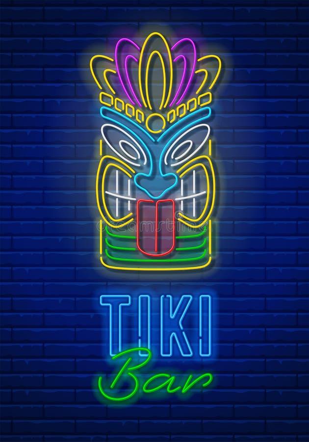 Tiki Bar Neon Signboard illustrazione di stock