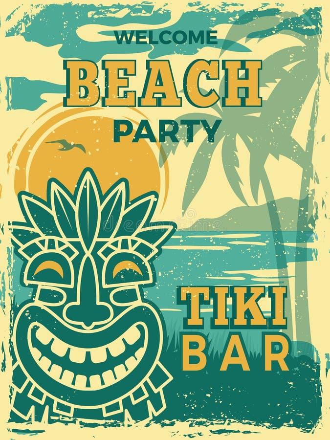 Tiki bar poster. Hawaii beach summer party invitation tiki tribal wooden masks vector retro placard stock illustration