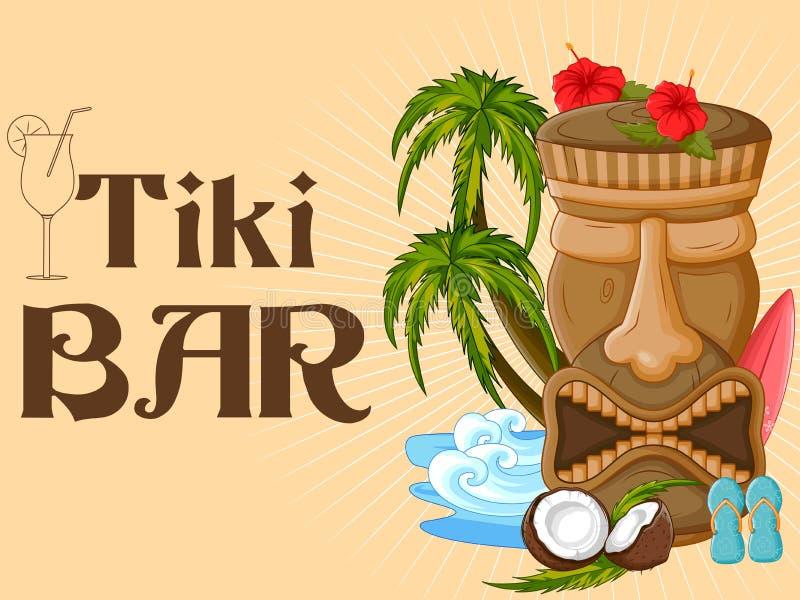 Tiki bar poster with tribal mask vector illustration