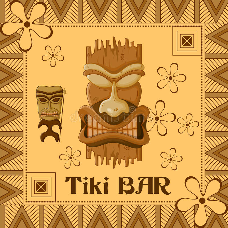 Tiki bar poster with tribal mask royalty free illustration