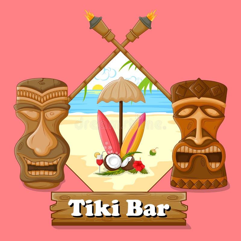 Tiki bar poster with tribal mask stock illustration