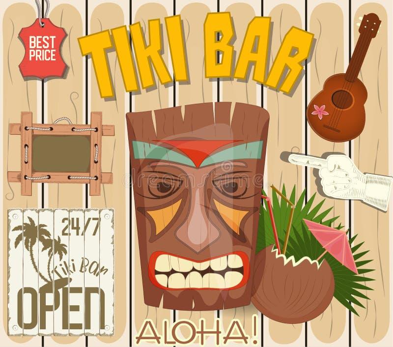 Tiki Bar Poster stock illustration