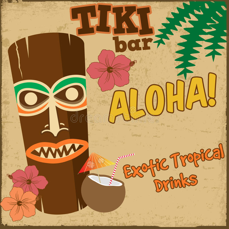 Tiki bar vintage poster royalty free illustration