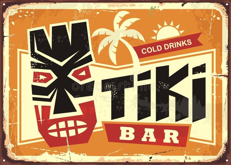 Tiki bar vintage tin sign with Hawaiian tiki mask. And creative typography. Food and drink cafe advertisement sign. Hawaii vacation souvenir stock illustration