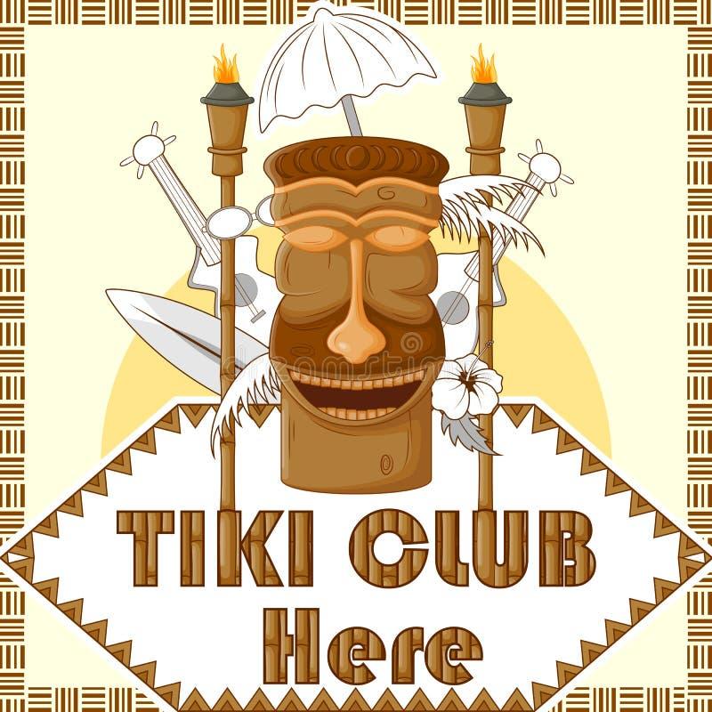 Tiki Club poster with tribal mask royalty free illustration