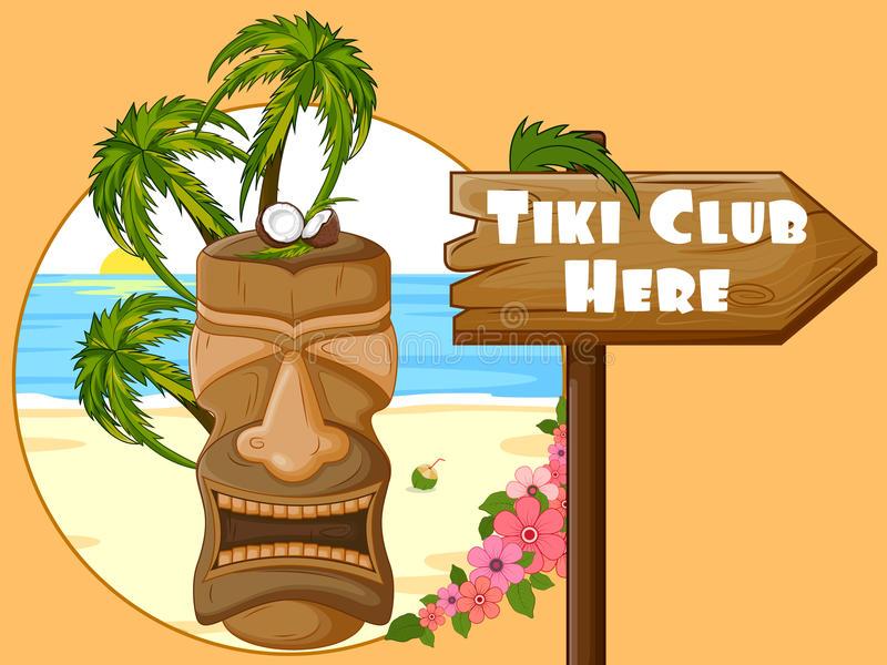 Tiki Club poster with tribal mask. Vector design of Tiki Club poster with tribal mask vector illustration