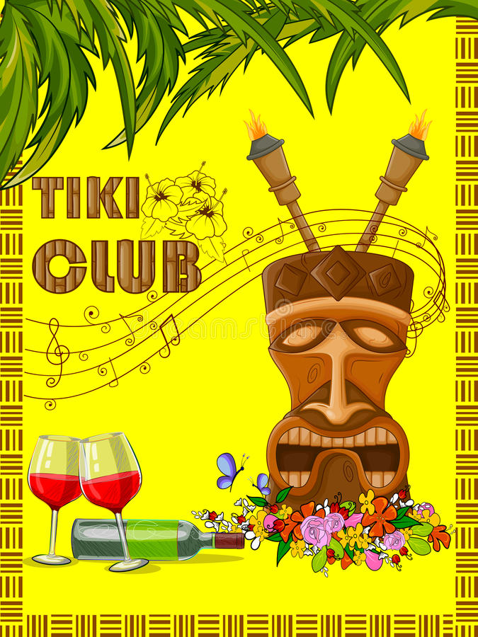 Tiki Club poster with tribal mask vector illustration