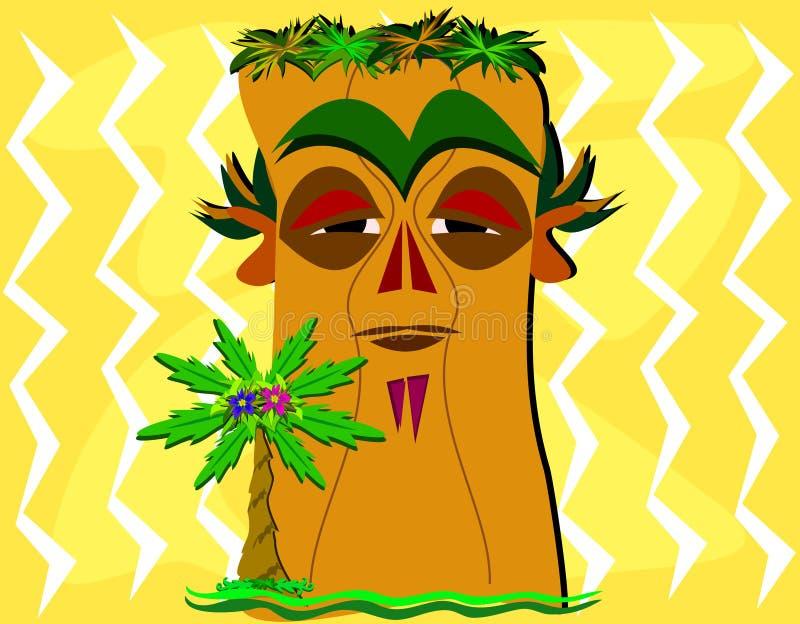Tiki e palmeira ilustração stock