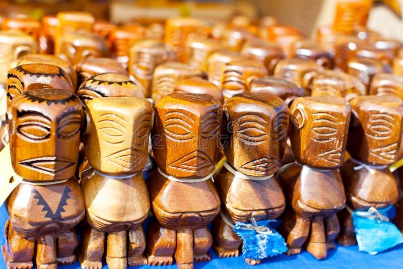 Tiki figures. At the market stock photos