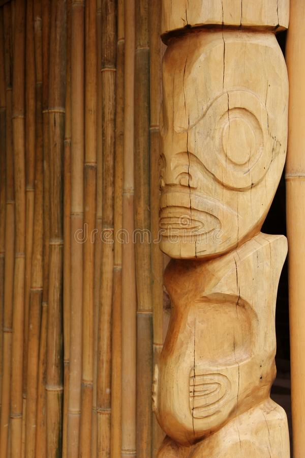 Tiki. A hand carved wooden Tiki at a ceremonial site on the island of Nuku Hiva, Marquesas Islands, French Polynesia royalty free stock images