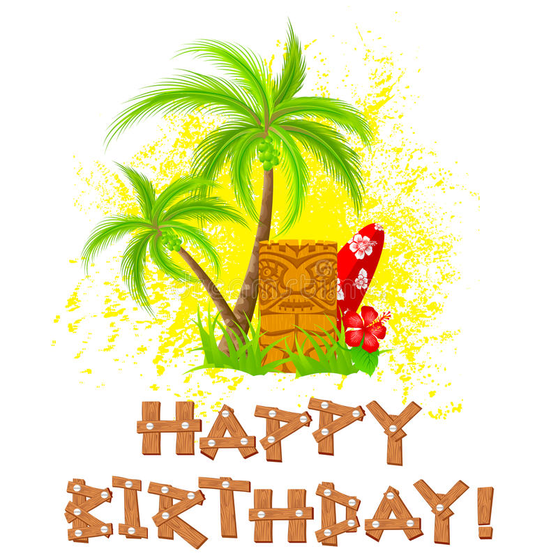 Tiki Happy Birthday Stock Vector. Illustration Of Hawaiian