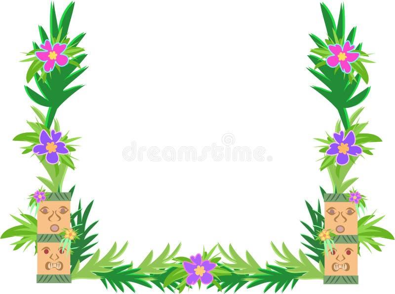 tiki hibiscus рамки цветков бесплатная иллюстрация