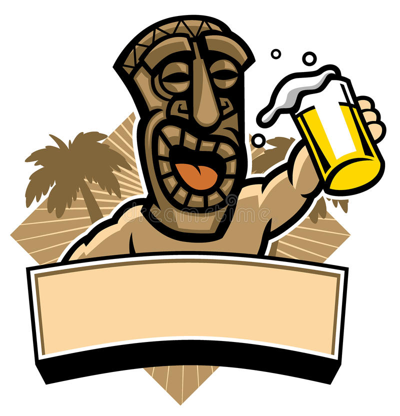 Tiki hold a glass of beer. Vector of tiki hold a glass of beer royalty free illustration
