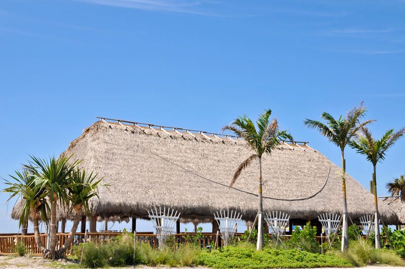 Tiki Hut. A Large Tiki Hut Bar on the Beach royalty free stock photography
