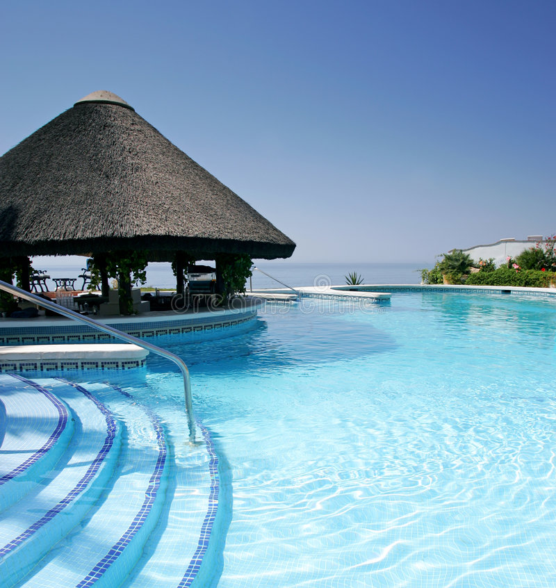 Tiki Hut And Bar By Swimming Pool Of Luxury Hotel Stock Photo Image Of Vacation Sunshine 578590